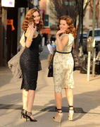 Katharine McPhee & Megan Hilty - on the set of Smash in New York *Ass shots*